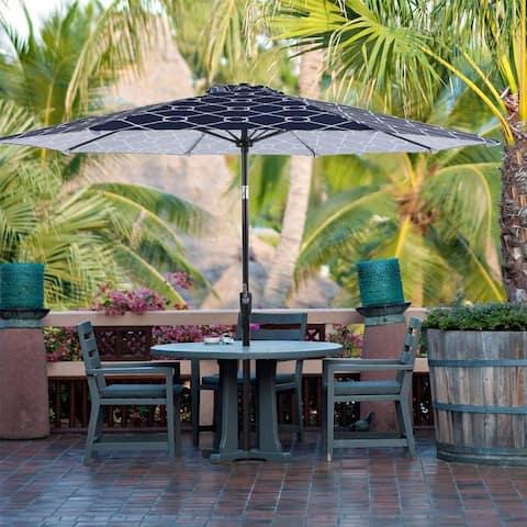 Sophia & William 9ft Auto Tilt Outdoor Patio Umbrella Market Umbrella with 8 Fiberglass Ribs, Navy