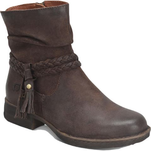 Born Womens Ouvea Booties Round Toe Ankle - Dark Brown