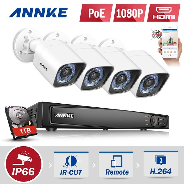 ANNKE 8CH 4 Indoor Outdoor 1080P POE CCTV HD Security Cameras System