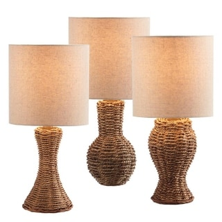 Set of 3 Natural Wicker Mini Table Lamps with Cream Shades 16""