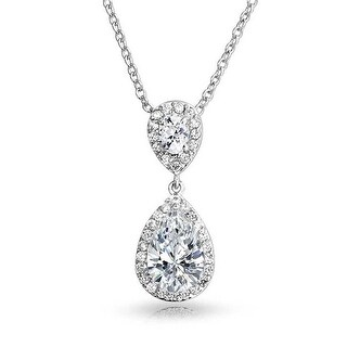 Bling Jewelry Cubic Zirconia Teardrop Bridal Pendant Rhodium Plated 18 Inches
