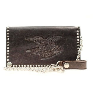 Nocona Western Wallet Mens Leather Checkbook Flag Chain N54134 - One size