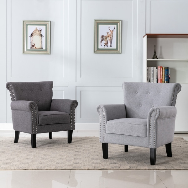 Corvus Madonna Tufted Oversized Fabric Nailhead Accent Club Chair with Paisley Arm. Opens flyout.