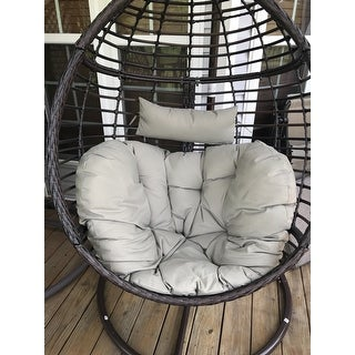 Shop Layla Outdoor Wicker Hanging Basket Chair With Cushions By Christopher  Knight Home   Free Shipping Today   Overstock.com   17813700