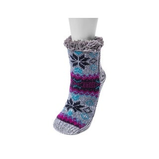 Muk Luks Socks Womens Pieced Cabin Knit Cozy Non Skid 0022099