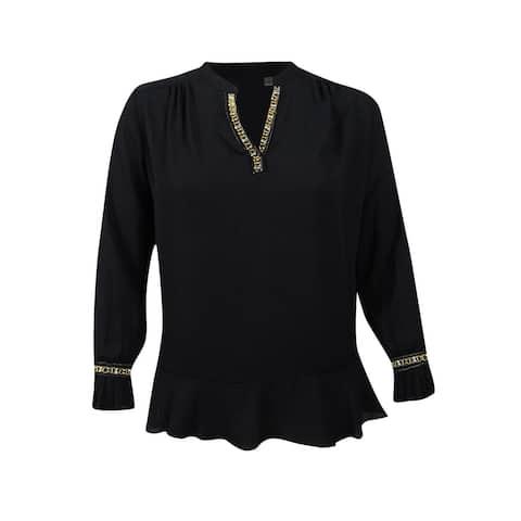 NY Collection Women's Plus Size Embellished Ruffled Blouse - Black