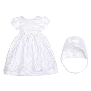 White Satin Flower Baptism Christening Gown Hat Set Baby Girls 3M-12M