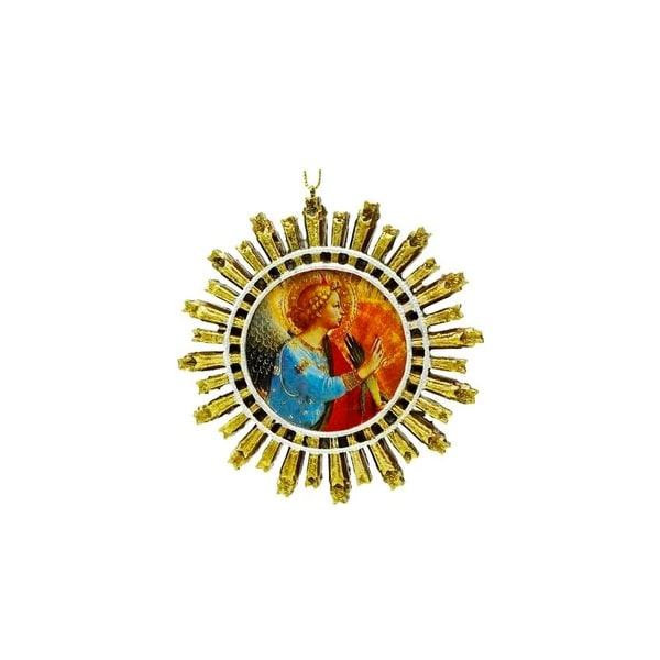 "4"" Angel Gabriel Religious Starburst Christmas Ornament - GOLD"