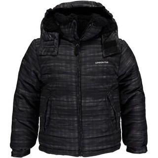 London Fog Boys 8-20 Hooded Sherpa Bubble Jacket
