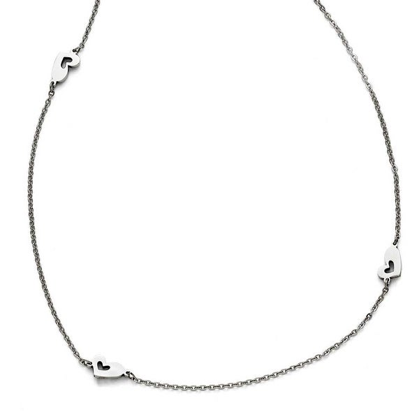 Chisel Stainless Steel Polished Slip On Hearts Necklace - 33 in