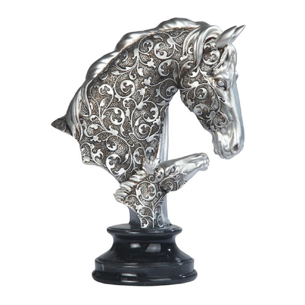 """Horse Head Ceramic Bust Chess Knight Statue 13.5/"""" H Gold"""