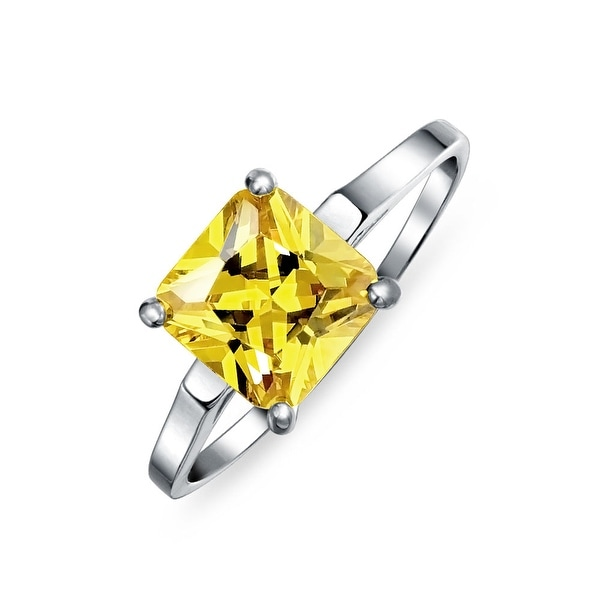 d9af68c388575f Shop Simple 5 CT Square Canary Yellow Princess Cut AAA CZ Solitaire  Engagement Ring Thin Band 925 Sterling Silver For Women - On Sale - Free  Shipping On ...