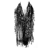 Dreamy  Lace Scarf with Leaf Design and Tassels