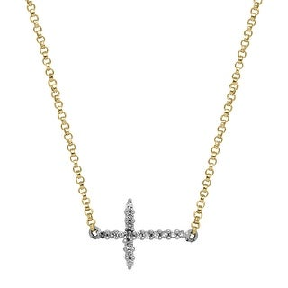 Silver Orchid Normand Sideways Cross Necklace With Diamonds In 14K Two Tone Gold