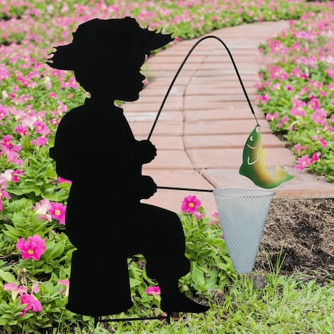 Exhart Stamped Metal Fishing Boy Silhouette Garden Stake, 14.5 by 26 Inches