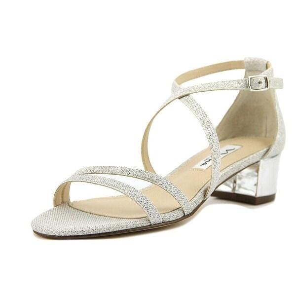 Nina Genji Women Open Toe Canvas Silver Sandals