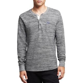 Scotch and Soda Retro De Luxe Long Sleeve Henley Shirt Grey Large L