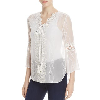 Elie Tahari Womens Mirra Peasant Top Silk Lace-Trim