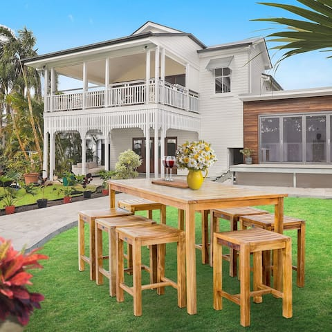 """Chic Teak 9 Piece Teak Wood Antigua Patio Counter Height Bistro Set with 71"""" Rectangular Table and 8 Stools"""
