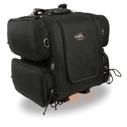 Medium Nylon Ultra Touring Sissy Bar Bag w/ Reflective Piping (17X17X12) - One Size