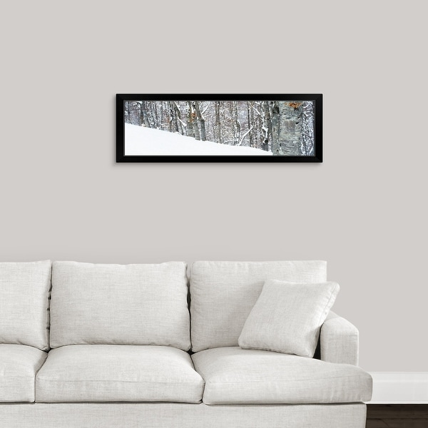 """""""Snow covered trees on a mountain, Apennines, Umbria, Italy"""" Black Framed Print"""