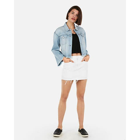 Express Mid Rise Distressed Mini Jean Skirt, White, 10