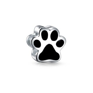 Bling Jewelry Sterling Black Enamel Puppy Dog Paw Print Heart Bead Charm