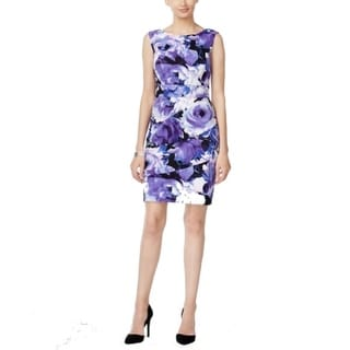 Connected Apparel NEW Purple Womens Size 10 Sheath Floral Printed Dress