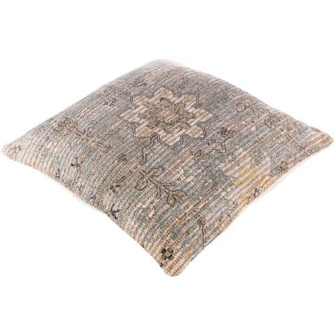 The Curated Nomad Lasuen Woven Jute Medallion 26-inch Floor Pillow Cover