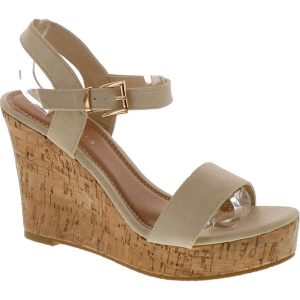 Fashion Focus Super-1 Women's Classic Platform Criss Cross Cork Wedge Dress Sandals - Blush
