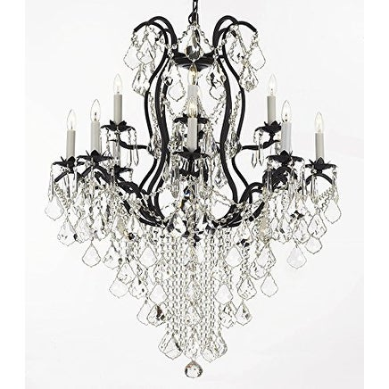 Wrought Iron & Crystal With 12 Light Chandelier Lighting
