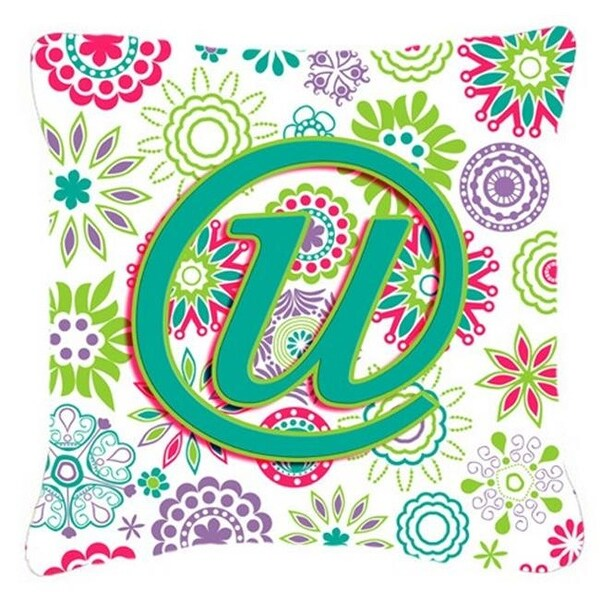 Shop Letter U Flowers Pink Teal Green Initial Canvas Fabric