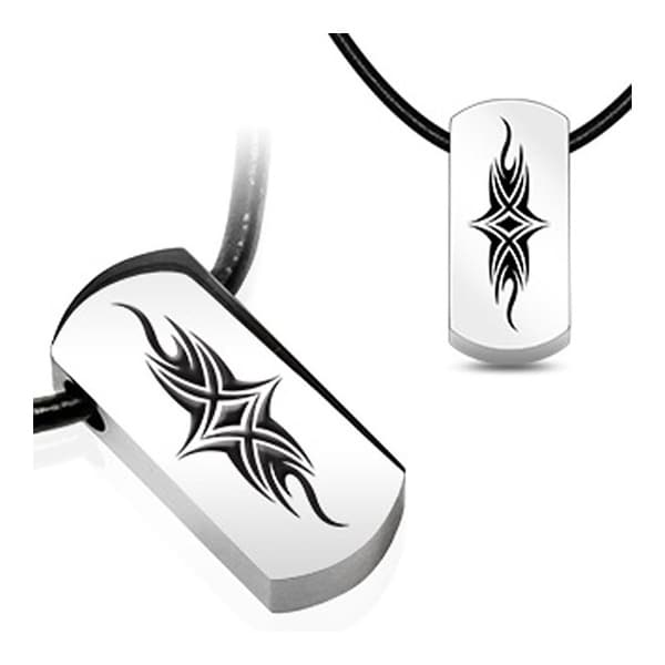 Stainless Steel Tag Pendant with Beveled Black Plated Tribal Shield (15 mm Width)