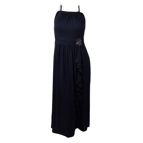 Nine West Women's Embellished Cascade Halter Gown - dark pacific
