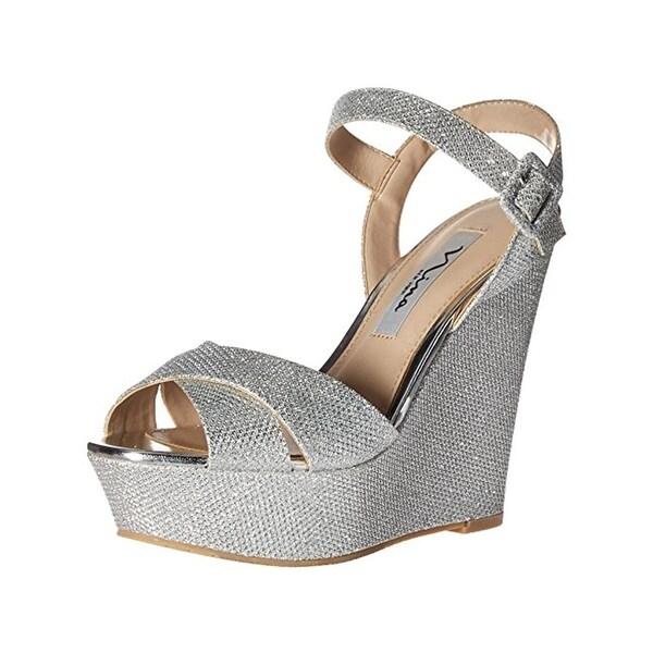 Nina Womens Jinjer Platform Sandals Glitter Open Toe