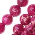 Impression Jasper Gemstone Beads, Round 8mm, 15 Inch Strand, Magenta Pink - Thumbnail 0