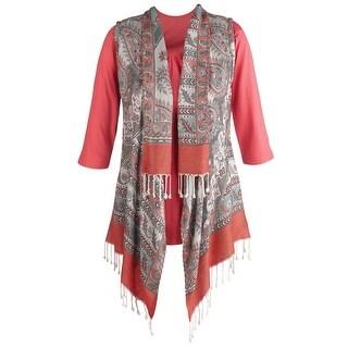 Women's Scarf Collared Vest & Tee Set - 3/4 Sleeve Top & Paisley Vest