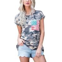 STYLEDOME Women Short Sleeve Camouflage T Shirts