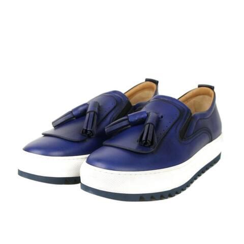 Salvatore Ferragamo Men's Lucca Blue Slip-On Leather Tassel Sneaker 665252