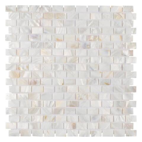 SomerTile 11.5x11.75-inch Seashell Subway White Natural Seashell Mosaic Wall Tile (10 tiles/9.69 sqft.)
