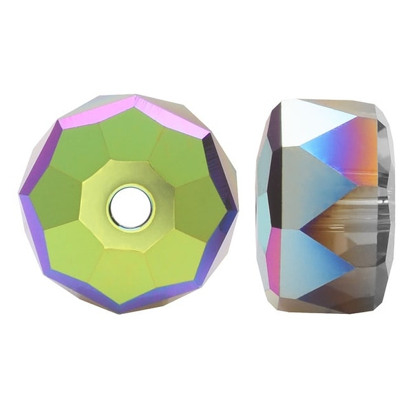 Swarovski Crystal, 5045 Rondelle Beads 6mm, 6 Pieces, Crystal Scarabaeus Green