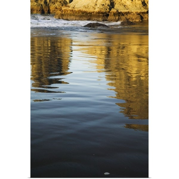 """Sea stacks reflecting in calm water of Bandon Beach, Bandon Beach State Park, Oregon"" Poster Print"
