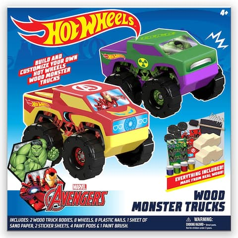 Hot Wheels Wood Mosnter Trucks - Hulk & Ironman