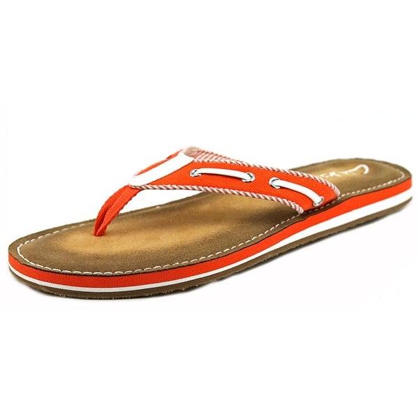 Clarks Flo Cherrymore Women  Open Toe Canvas Orange Thong Sandal