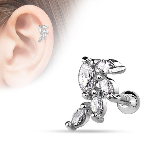 {Clear} Marquise CZ Cluster Vine 316L Surgical Steel Cartilage/Tragus Bar (Sold Individually)