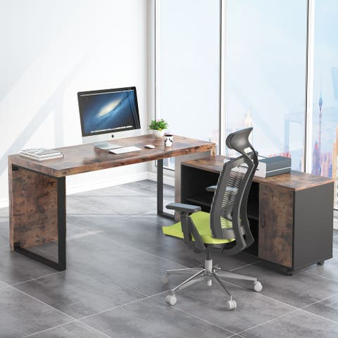 "55"" Computer Desk with 39 Mobile File Cabinet, L-Shaped Office Desk"