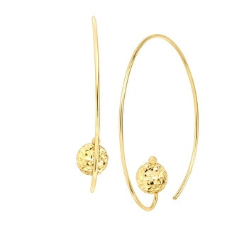 Just Gold Wire Hoop Earrings with Textured Bead in 14K Gold - YELLOW