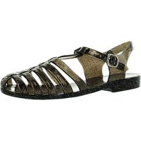 Forever Womens Jedi Summer T-Strap Retro Jelly Rain Flat Sandals