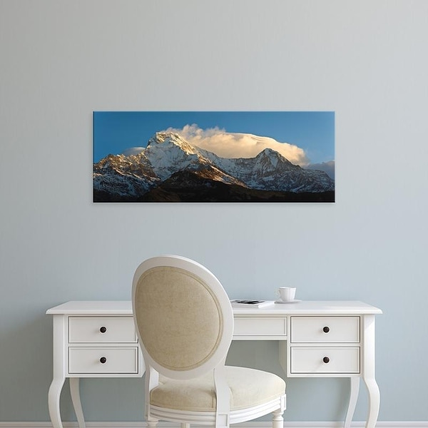 Easy Art Prints Panoramic Image 'Snowcapped mountains, Hiunchuli, Annapurna Range, Himalayas, Nepal' Premium Canvas Art