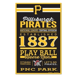 Pittsburgh Pirates Sign 11x17 Wood Established Design